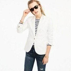 J. Crew White Cotton Linen Unstructured Jacket